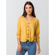 SKY AND SPARROW Tie Front Mustard Womens Thermal