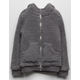 WHITE FAWN Sherpa Gray Girls Zip Hoodie
