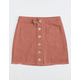 WHITE FAWN Exposed Button Front Frayed Rust Mini Skirt