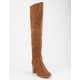 SODA Heeled Lace Back Chestnut Womens Over The Knee Boots