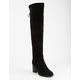 SODA Heeled Lace Back Black Womens Over The Knee Boots
