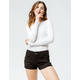 RSQ Malibu Cuff Washed Black Womens Denim Shorts