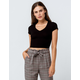 BOZZOLO V-Neck Black Womens Crop Tee