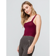 BOZZOLO Square Neck Burgundy Womens Crop Tank Top