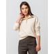 FULL TILT Half Zip Ivory Womens Crop Sweatshirt