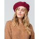 DAVID AND YOUNG Solid Burgundy Womens Beret