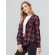 DESTINED Hooded Burgundy Womens Flannel Shirt