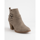 CITY CLASSIFIED Wrap Buckle Heeled Taupe Womens Booties
