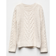 WHITE FAWN Cable Knit Cream Girls Sweater