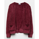FULL TILT Essentials Chenille Burgundy Girls Cardigan