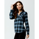 DESTINED Hooded Blue Womens Flannel Shirt