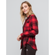 DESTINED Hooded Red & Black Womens Flannel Shirt
