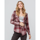 DESTINED Hooded Mauve Womens Flannel Shirt