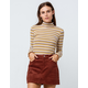 SKY AND SPARROW Ribbed Stripe Mustard Womens Turtleneck Top