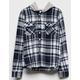 DESTINED Hooded Navy Girls Flannel Shirt