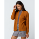 IVY & MAIN Solid Open Camel Womens Cardigan