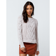 WOVEN HEART Cable Knit Chenille Tan Womens Sweater