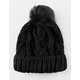 Everday Fur Pom Black Womens Beanie