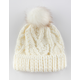 Everday Fur Pom Ivory Womens Beanie