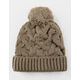 Everyday Cable Knit Pom Mocha Womens Beanie