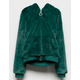 WHITE FAWN Faux Fur Teal Green Girls Hooded Jacket