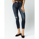 IVY & MAIN Flap Back Pocket Crop Womens Ripped Skinny Jeans