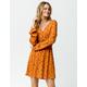SKY AND SPARROW Floral Button Smock Waist Rust Dress