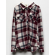DESTINED Hooded Burgundy Girls Flannel Shirt