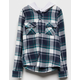 DESTINED Hooded Teal Green Girls Flannel Shirt