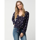 SKY AND SPARROW Button Front Floral Tie Front Womens Top