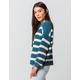 FULL TILT Essentials Stripe Teal Blue Womens Chenille Sweater