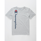 CHAMPION Vertical Script Heather Gray Boys T-Shirt