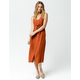 MIMI CHICA Button & Knot Front Rust Midi Dress