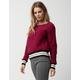 POOF Woobie Contrast Burgundy Womens Sweater