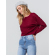 SKY AND SPARROW Solid Burgundy Womens Crop Sweater