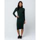 HEART & HIPS Mock Neck Ribbed Emerald Midi Bodycon Dress