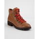 STEVE MADDEN Lora Cognac Leather Womens Combat Boots