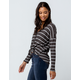 SKY AND SPARROW Stripe Button Charcoal Womens Thermal