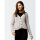 SKY AND SPARROW Button Front Tan Womens Crop Cardigan