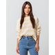FULL TILT Essentials Stripe Light Yellow Womens Chenille Sweater