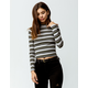 SKY AND SPARROW Stripe Mock Neck Olive Womens Tee