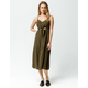 MIMI CHICA Button & Knot Front Olive Midi Dress