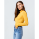 SKY AND SPARROW Ribbed Turtleneck Mustard Womens Tee