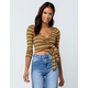 POLLY & ESTHER Stripe Tie Front Mustard Womens Crop Top