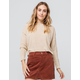 SKY AND SPARROW Solid Tan Womens Crop Sweater