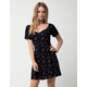 SKY AND SPARROW Sweetheart Floral Button Navy Dress