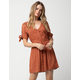 SKY AND SPARROW Tie Sleeve Button Front Dress