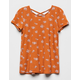 WHITE FAWN Floral Cross Back Rust Girls Tee