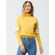 FULL TILT Stripe Sleeve Zip Front Mustard Womens Top