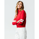 FULL TILT Stripe Sleeve Zip Front Red Womens Top